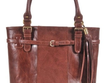 PHOEBE. Vintage brown leather tote / shoulder bag / tote bag / brown leather bag / leather boho bag. Available in different leather colors