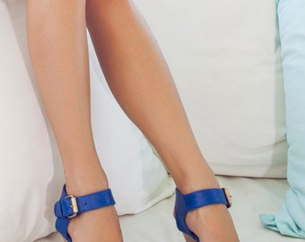 DREAMER. Blue leather wedges / women shoes / high heels / leather shoes / bohemian shoes. Sizes 35-43. Available in different leather colors