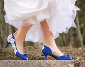 Wedding Heels - Royal Blue Wedding Heels, Blue Wedding Shoes, Blue Heels, Bridal Shoes, Bridal Heels, Pumps with Ivory Lace. US Size 7.5