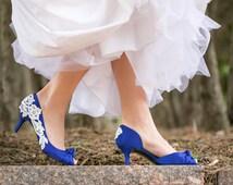 Wedding Shoes - Royal Blue Wedding Shoes, Blue Bridal Heels, Blue Heels, Peep-toe Heels, Low Wedding Heels with Ivory Lace. US Size 6.5