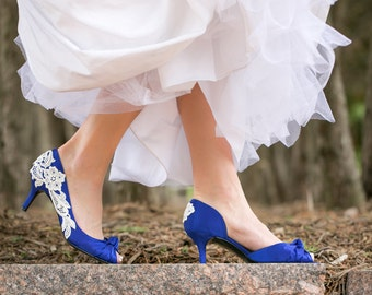 Wedding Shoes - Royal Blue Wedding Shoes, Blue Bridal Shoes, Blue Heels, Something Blue, Low Wedding Heels with Ivory Lace. US Size 10