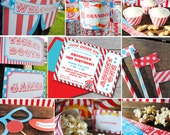 INSTANT DOWNLOAD, Step Right Up CIRCUS Carnival Birthday Printable Party Package, You Edit Yourself in Adobe Reader