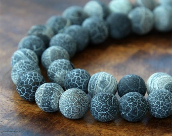 Frosted Agate Beads, Anthracite, 10mm Round - 14 inch strand - eGR-AGF07-10