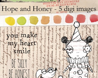 Whimsical clown girl and her pup digi stamp set for paper crafting - instant download