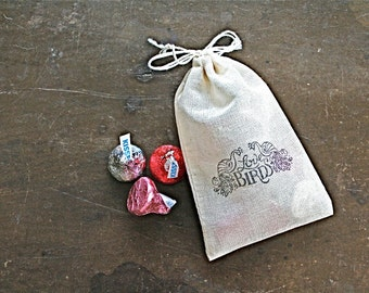 Wedding favor bags, set of 50 drawstring cotton bags. Love Birds with peacocks design in black. Bridal shower, party favor bags.