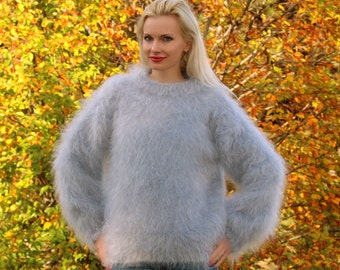 MADE TO ORDER hand knitted mohair sweater in grey by SuperTanya