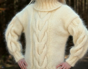 Made to order hand knitted mohair sweater in ivory off white with tightly fitted turtleneck by SuperTanya