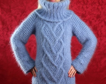 Made to order thick light blue hand knitted mohair sweater with cables by SuperTanya