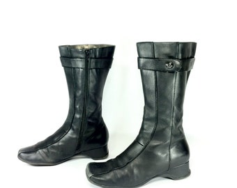 Minimal Leather Riding Boots 7 - Platform Leather Boots 7 - Tall Black Leather Boots 7