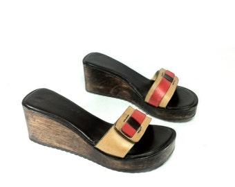 Platform Leather Mules 7 - Slip On Platform Sandals 7 - Backless Wedge Clogs 7