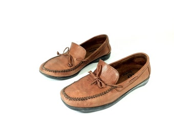 Chestnut Leather Moccasins 10 - Slip On Flat Loafers 10 - Dexter Boat Shoes 10