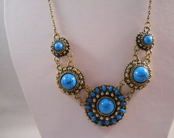Turquoise and Gold Pendant Bib Necklace on a Gold Tone Chain