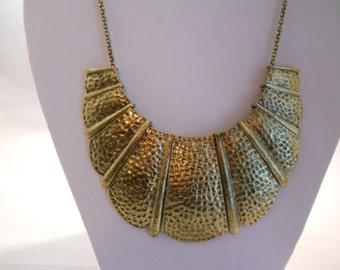 Bib Necklace with Gold Tone Pendants on a Gold Tone Chain