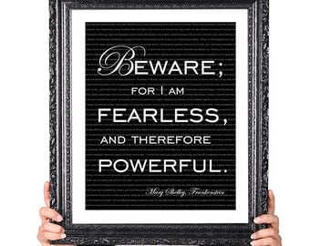 Frankenstein, Mary Shelley, Wall Art Typography Print, Quote Print, Steampunk Decor, Inspirational Art, Literary Art, Literature Poster