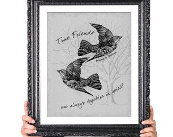 TRUE FRIENDS, Best Friend Gift, Vintage Bird Illustration, Long Distance Friendship Gifts, Anne of Green Gables Quote,Typographic Print