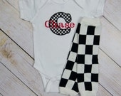 Personalized Baby Boy Bodysuit or Gown Checkered Monogram With Leg Warmer and Beanie Hat Options Baby Boy Gift Set Race Car Racer Black Red