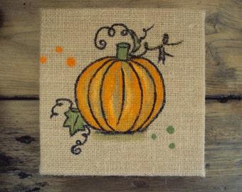 Primitive Halloween Decor - Harvest Pumpkin Thanksgiving Decor - Rustic Fall Decoration - Country Autumn Decor - Gourd Painting on Burlap