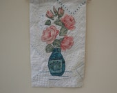 Recycled Vintage Linen and Lace Applique Hanging - pink roses in a vase hand stitched by Lynwoodcrafts