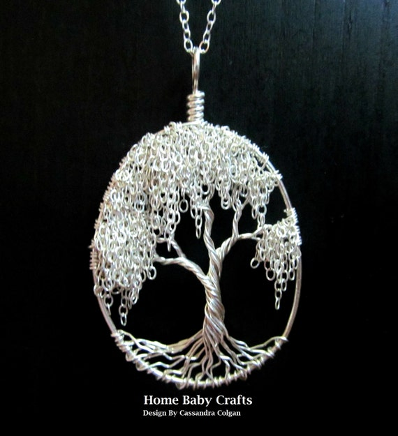 Willow Tree Of Life Necklace Ooak Solid Sterling Silver Tree