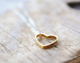 Heart Necklace - Heart Shape Jewelry - Brass and Silver - Love Jewelry - Brass Heart Pendant - Valentines Day Gift For Her