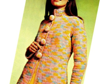 Vintage Retro 70's Crochet Coat - PDF Pattern - INSTANT DOWNLOAD