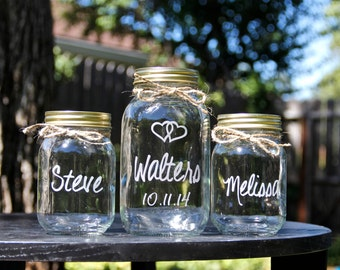 3 Mason Jars, Sand Ceremony, Unity Jars, Mason Jars, Personalized, Weddings, Custom Glass