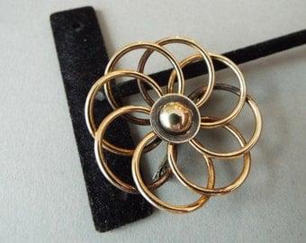 Atomic brooch pin Vermeil Retro Symmetalic Sterling 14k  Spirograph brooch eternity pin