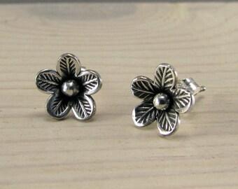 Sterling silver flower stud earrings -handmade - gift for her