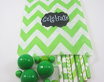 24- 5X7 Green and White Large Chevron Bags, Treat Bags, Favors, Candy Buffet, Wedding