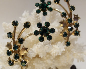 Green Rhinestone Floral Spray Earrings