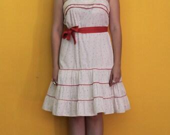 Vintage 1960's Darling Polkadot Bombshell Rockabilly Summer Dress By Goody USA Size Small to Medium