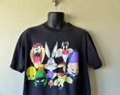 Vintage 90s Looney Tunes Toons tshirt tee T shirt / Graphic Taz Tweety Bugs Sylvester Elmer Roadrunner / mens womens unisex /  novelty S M