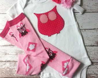 SALE Baby Girl first birthday one piece bodysuit, leg warmers and shabby headband set, owl, photo prop, birthday outfit, pink, Look Who's 1