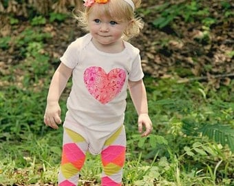 SALE Baby Girl onepiece bodysuit, headband & leg warmer set, custom initial, heart or number 1, Spring, pink, orange, argyle, First Birthday