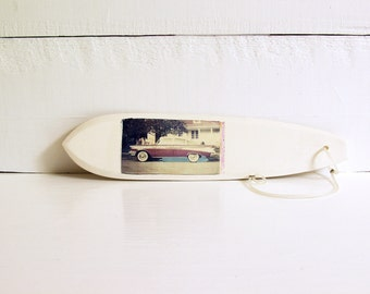 Surfboard.   Polaroid Transfer Printed on Hand-Built Fired Clay Sculpture.  Classic Car Print.