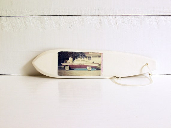SALE. Surfboard.   Polaroid Transfer Printed on Hand-Built Fired Clay Sculpture.  Classic Car Print.