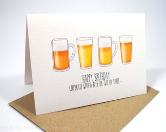 Happy Birthday Card - Male - 4 Beers - HBM051