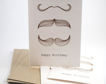 Happy Birthday Card Pack -  3 Moustaches - Set of 3 Cards - HC3-003 - Male Cards