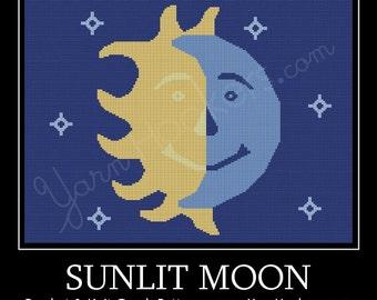 Sunlit Moon - Afghan Crochet Graph Pattern Chart - Instant Download