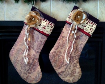 READY TO SHIP! Purple, Red, Gold and Cream/Tan Christmas Stocking, 2493
