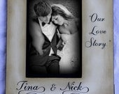 """Engagement Couples' Custom Vintage - """"Our Love Story"""" Couples name and place of engagement Personalized Gift - Keepsake"""