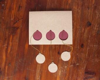 Christmas Card: Hand Cut Hanging Christmas Ornament Card--Custom Colors