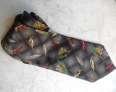 Vintage Fishing Lures Necktie / Fish Bait / Peaceful Pastime / Weekend Zen / Made in USA
