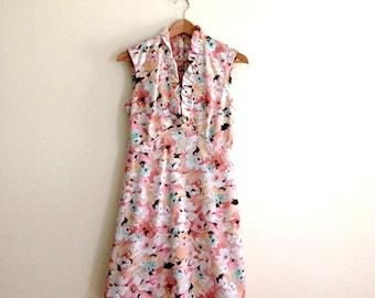 Vintage Pastel Floral Scooter Dress // Watercolor Mod Dress // Coral & Mint Mini Dress // Retro Flower Dress  - 1960s