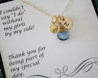 10 Gold Bridesmaid Necklace Personalized Sand Dollar, Bridesmaid Gift, Beach Wedding, Gold, Gemstone, Initial jewelry, Thank you Card