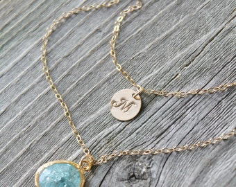 Aquamarine 14k gold filled Layered Initial Necklace, aqua blue,crystal,personalized stamped disc Double chain Monogram Letter, two 2 strands