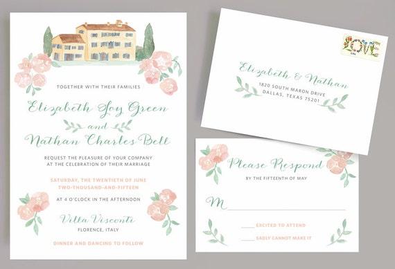 Italian Wedding Invitation: Italian Wedding Invitation With Watercolor Villa And Flowers