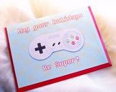 Super Nintendo Holiday- Geeky Holiday Card- 5x7- Christmas Card- Season's Greetings- Geeky Christmas- Gamer Card - AwkwardAffections
