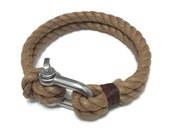 Nautical Sailing Bracelet  Stainless steel  Shackle - Paracord Bracelet - Mens Bracelet - Mens Jewelry - Linen Rope Bracelet - Brown