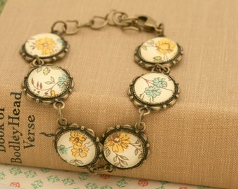 Yellow and Blue Flowers Antique Bronze Bracelet